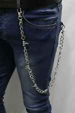 Men Silver Metal Wallet Chain KeyChain Punk Rocker Spike Charm Chunky Thick Link