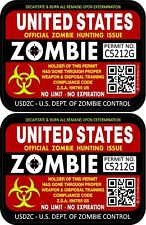 Two United States Zombie Red Hunting License Permit 3x4 Decals Sticker 1201