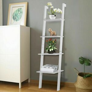 4-Tier-Leaning-Rack-Wall-Ladder-Book-Shelf-Bookcase-Storage-Display-Furniture-US