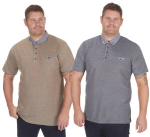 Mens-Cotton-Rich-Pique-Polo-Shirt-with-Chambray-Collar-Top-Big-amp-Tall-T-Shirt
