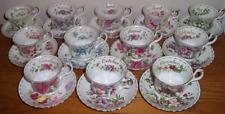 Set of 12 Royal Albert Flower of the Month Bone China Cups & Saucers / Tea Set