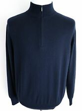 $1425 LORO PIANA Navy Mezzocollo 100% Baby Cashmere 1/2 Zip Sweater 52 EU Large