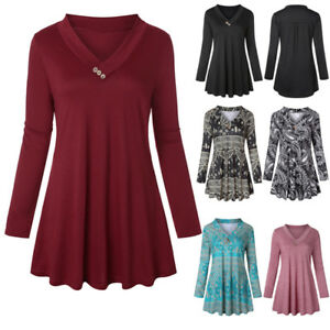Womens-Long-Sleeve-Tunic-Tops-V-Neck-Casual-Loose-Autumn-Swing-T-Shirt-Blouse-US