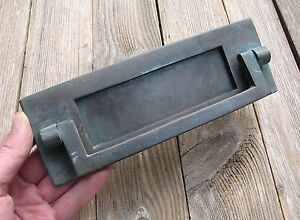Old Solid Bronze Letter Box Plate  Door Mail Slot with Knocker - Cleveland, United Kingdom - Old Solid Bronze Letter Box Plate  Door Mail Slot with Knocker - Cleveland, United Kingdom