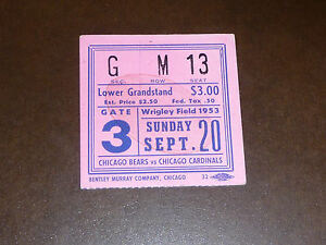 bb4dd0ca Details about 1953 CHICAGO BEARS TICKET VS CHICAGO CARDINALS EX-MINT