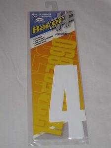 """N-Style 6"""" Racer # Racing Numbers """"4"""" 4 Mil BMX MOTORCROSS GO KART 3 Pack WHITE"""