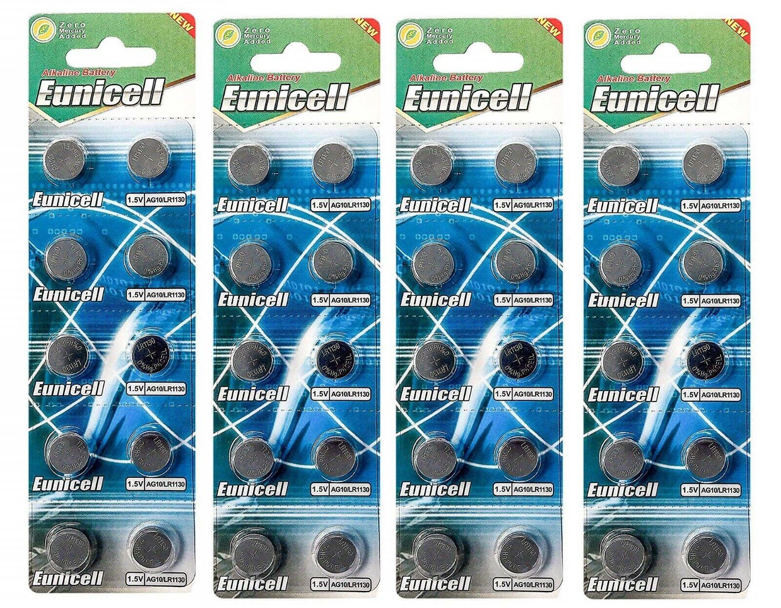 EUNICELL Lot de 40 piles AG10 LR1130 LR54 1,5 volt