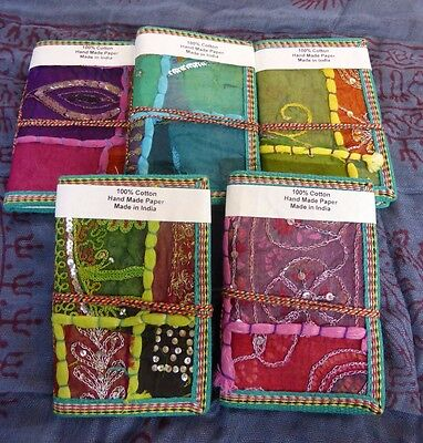 x1 Small Vintage Recycled Indian Sari Fabric Note Books Hand Made Paper 40 pages