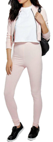 Womens Ribbed Zip Loungewear Tracksuit Set Bomber Jacket And Leggings Suit