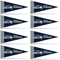 Seattle Seahawks Mini Pennant Banner Flags 4 X 9 Fan Cave Decor 8 Pk Set
