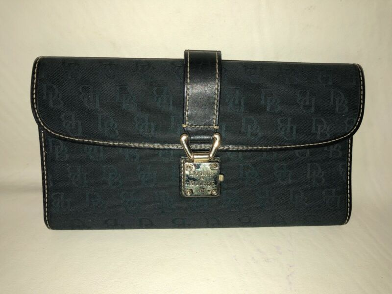 Dooney & Bourke Black Canvas Leather Db Logo Push Lock Clutch Wallet Coin Pocket