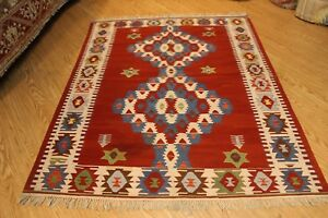 Southwestern-Style-RUG-5-039-x-7-039-100-wool-Navajo-design-handmade-hand-woven