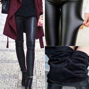 Women-Faux-Leather-Leggings-High-Waist-Winter-Warm-Pants-Velvet-Slim-Trousers-OB