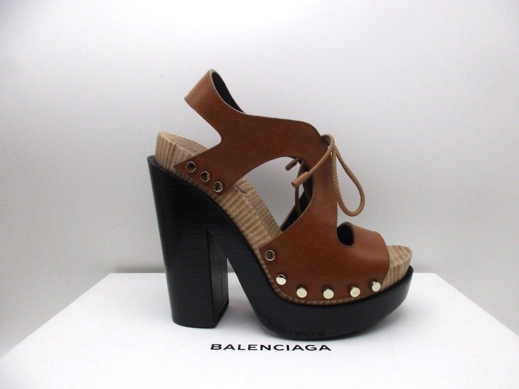 Balenciaga Brown Clog Platform Sandals Shoes Heels Studded  795 37