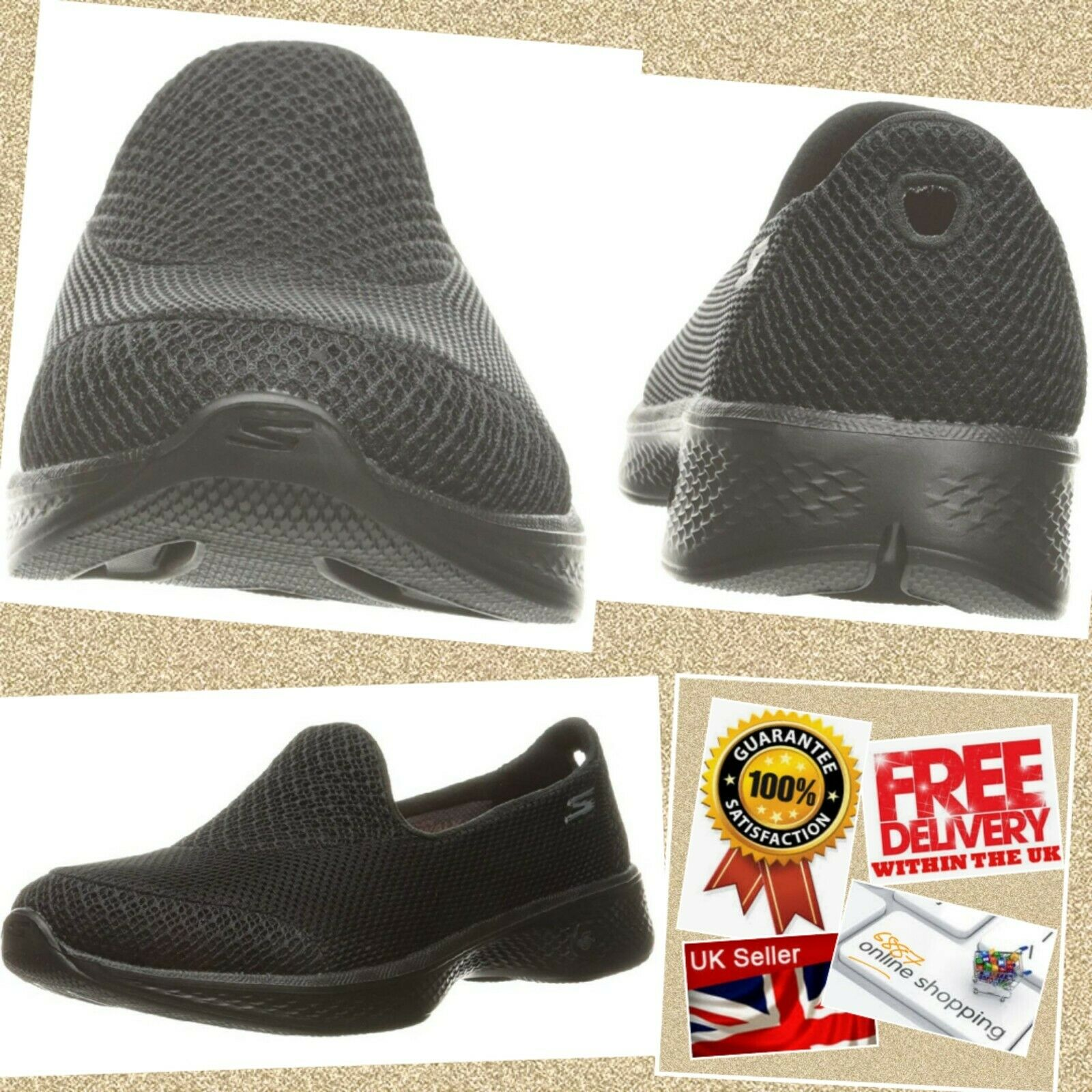 LADIES SKECHERS PROPEL GO WALK 4 schwarz SLIP ON WALKING schuhe TRAINERS 14170 UK 6