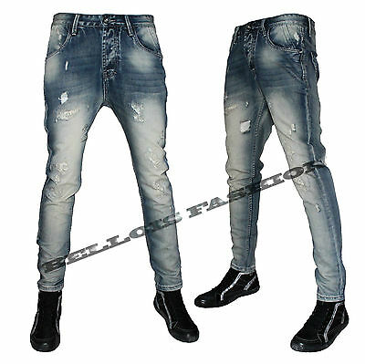 Jeans Uomo Denim Slim Fit Strappato Blu Vintage Bellois Fashion