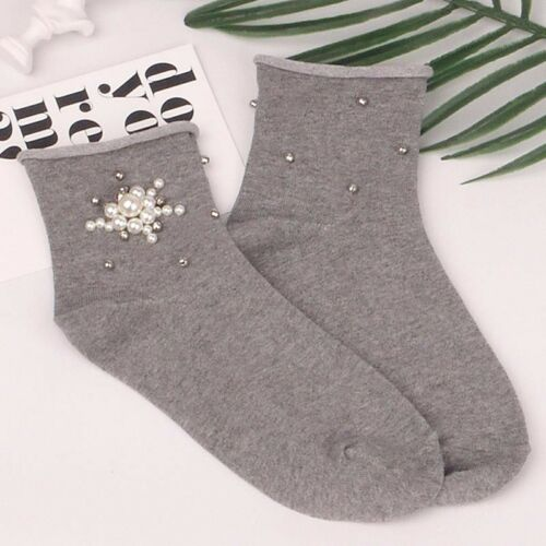 Handmade pearl Harajuku cotton quality flash network golden fun socks girls