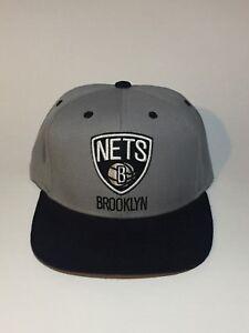 fff0a9420a504 Image is loading Brooklyn-Nets-Adidas-NBA-Black-Logo-Gray-Snapback-