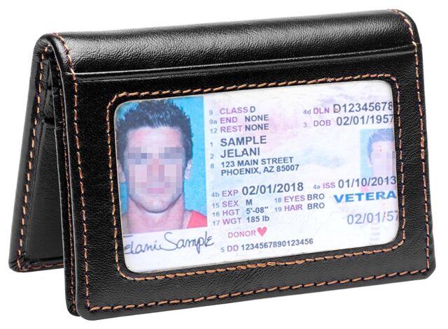 1acfab8db694 RFID Mens Slim Front Pocket Wallet Genuine Leather Bifold ID/Credit Card  Holder