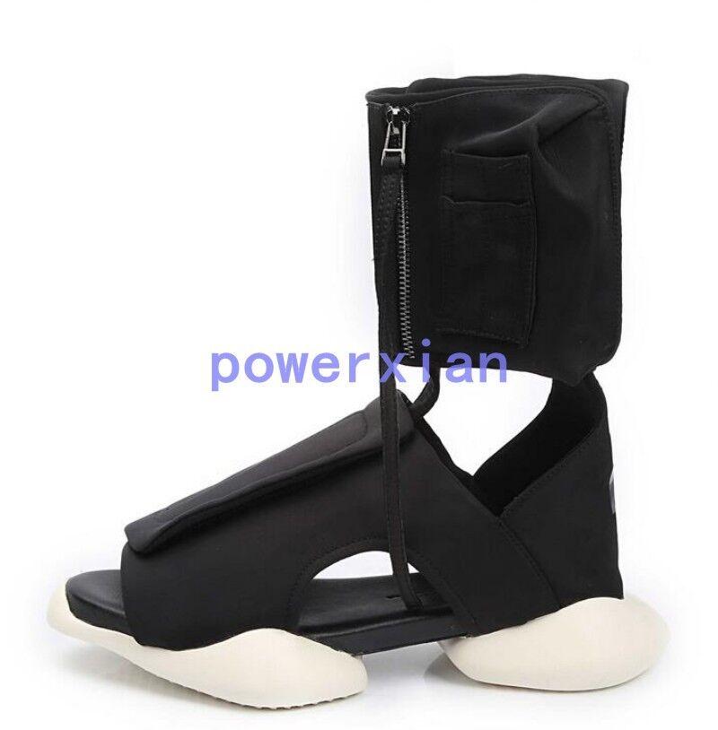 Zapatillas de cuero Plataforma de cremallera de Gladiador romano alto
