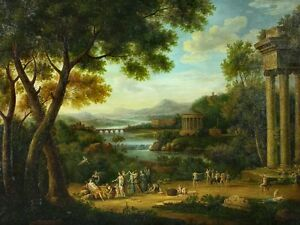 Beautiful-Oil-painting-ancient-landscape-angels-together-with-Castle-36-034