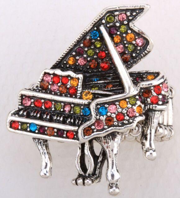 Miniatur Grand Piano Stretch Ring Crystal Rhinestone Music Fashion Jewelry RD29