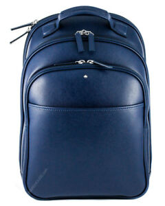 4f38c03b60 Image is loading Montblanc-Sartorial-Print-Small-Indigo-Leather-Backpack -115629