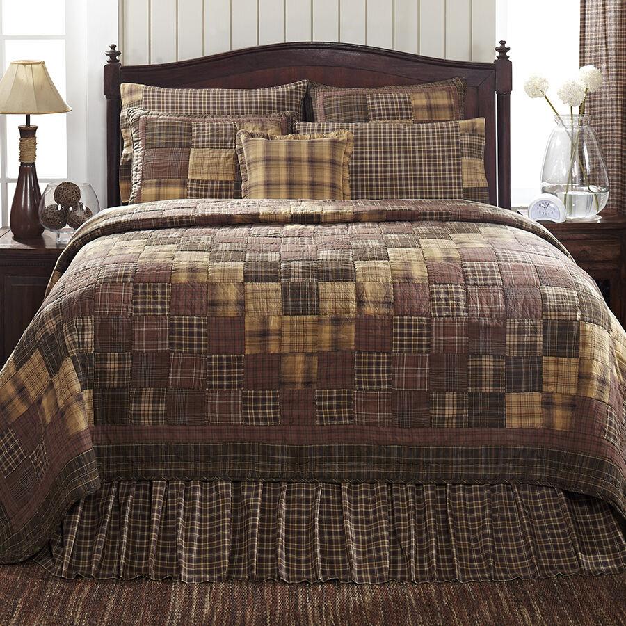 PRESCOTT Twin Quilt Patchwork Primitive Country Rustic Brown Creme Tan Lodge