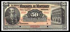 El Banco Mercantil de Monterrey 50 Pesos SPECIMEN, M427s1 / BK-NUE-53 UNC.