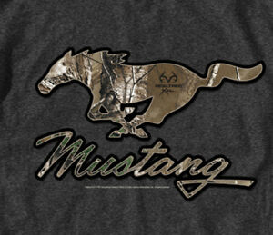 Ford-Mustang-Real-Tree-Camo-Pony-GRAY-Adult-T-shirt