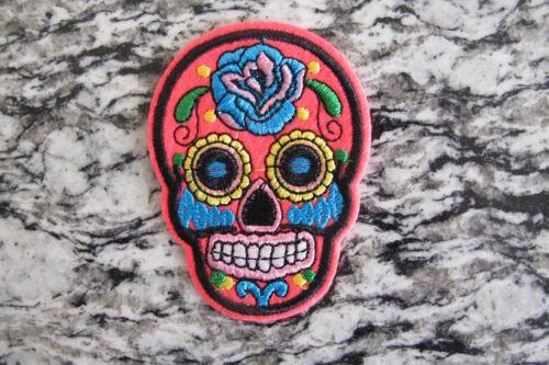 #5111G  Dark Pink Sugar Skull Biker Motorcycle Embroidery Iron On Appliqué Patch