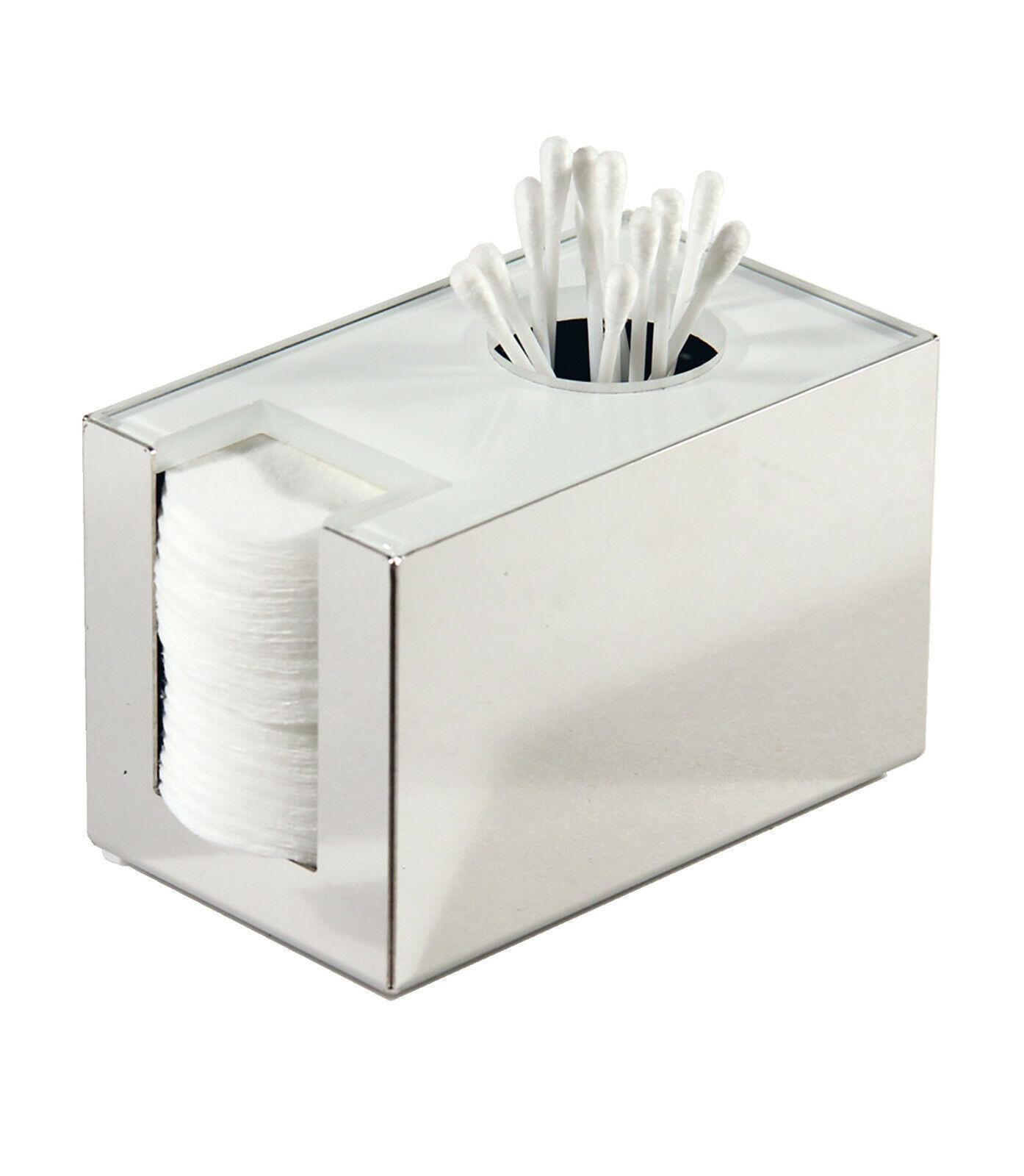 Wattepadhalter Wattestäbchenhalter aus Edelstahl glänzend und weißem Glas von SD