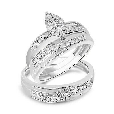 14K White Gold Over Diamond His Her Wedding Bridal Ring Engagement Band Trio Set