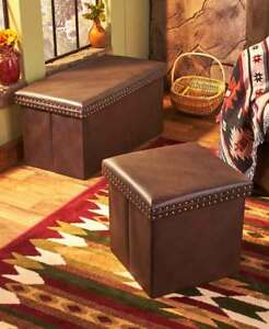 Super Details About Brown Faux Leather Storage Ottomans Benches Cassic Modern Extra Seating Pabps2019 Chair Design Images Pabps2019Com