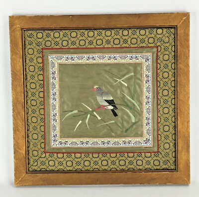 Antique Chinese silk Embroidered birds Panel Tapestry wooden tray vintage Asian embroidery 13.5 x 5.5