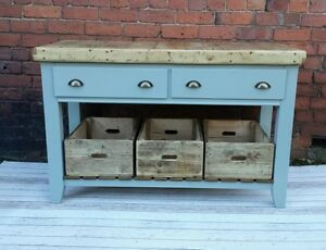 Butchers Block Table Kitchen Island With Wooden Crates Ebay