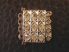 TRES BEAU FERMOIR 3 RANGS & STRASS BLANC NEUF  pour collier/bracelet/NEW CLASP