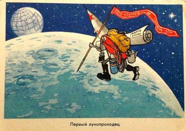 1959 Postcard Soviet Propaganda First Moonwalker Soviet Union Space Program