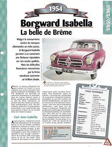 VOITURE BORGWARD ISABELLA FICHE TECHNIQUE AUTO 1954 COLLECTION CAR AUTOMOBILE