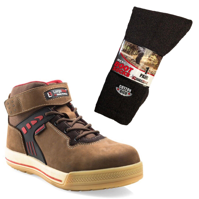 Buckler largo Bay Alta Superior De Seguridad botas De Trabajo Marrón y 1 par de calcetines