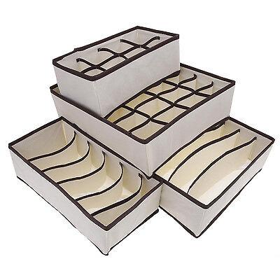 4 PCS Set Foldable Organizer Storage Box For Bra Ties Underwear Socks WS