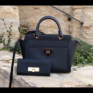NWT-Michael-Kors-Large-Tina-Leather-handbag-Satchel-Wallet-black-Gold-35H7GT4M3L