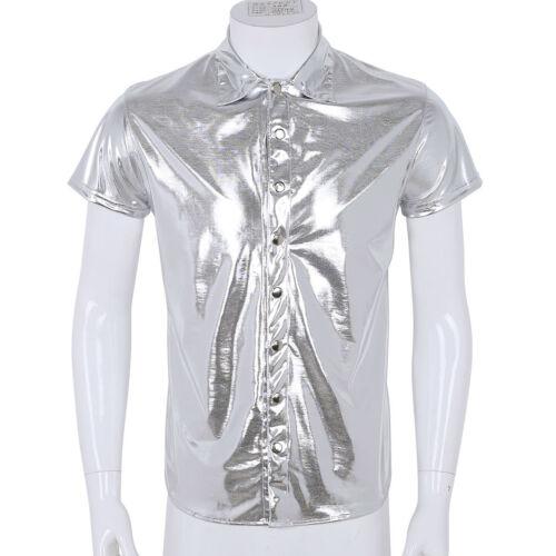 Men T shirt Metallic Leather Uniform Nightclub Tank Top Tight Cropped Undershirt