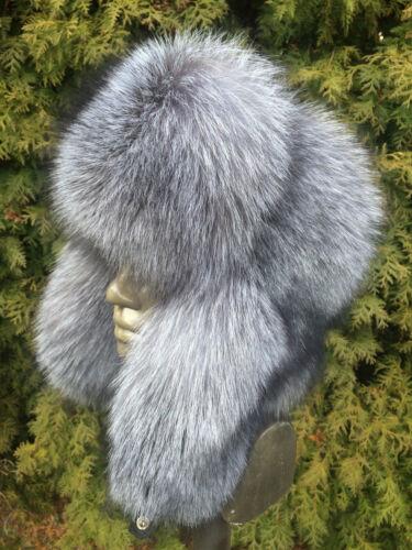 Saga Silver Blue Frost Fox Fur Full Hat Ushanka