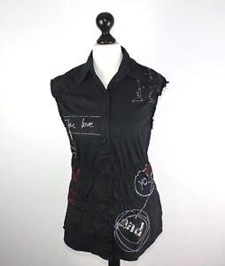 40 Stretch Femme Superbe Nouveau Blouse Noir Desigual 7w0qIn4Sx