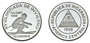 50-SILVER-CoRDOBAS-PLATA-OLIMPIADA-INVIERNO-CALGARY-NICARAGUA-1988-PROOF