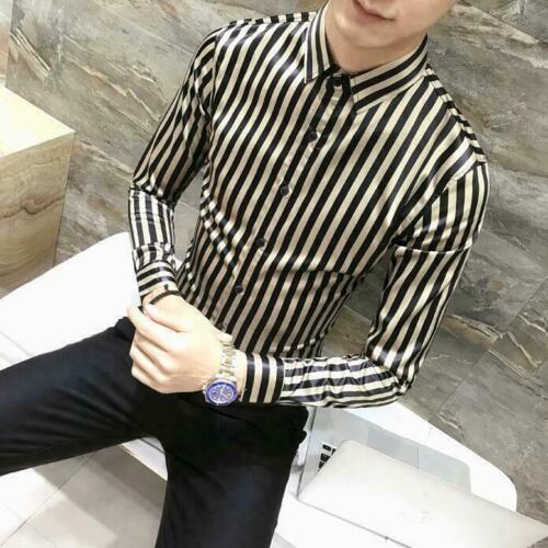 Youth Men/'s Striped Long Sleeve Slim Fit Shirt Party Nightclub Dress Shirt Top