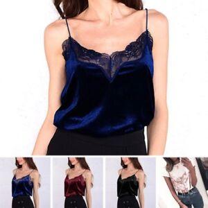 Verano-Mujer-Informal-Con-Cordones-Camisetas-De-Tirantes-Camiseta-Blusa