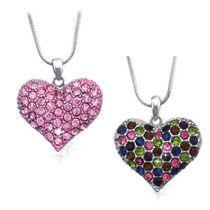 Small Pink Multi Color Heart Necklace Set Valentine S Day Jewelry