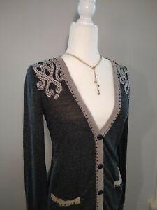 Miss-Me-Women-039-s-Sz-S-Linen-Blend-Long-Sleeve-Cardigan-Button-Down-Shirt